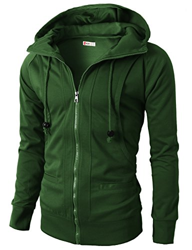 (H2H Mens Daily Fashion Active Jersey Slim Fit Hoodie Zip-Up OLIVEGREEN US S/Asia M)