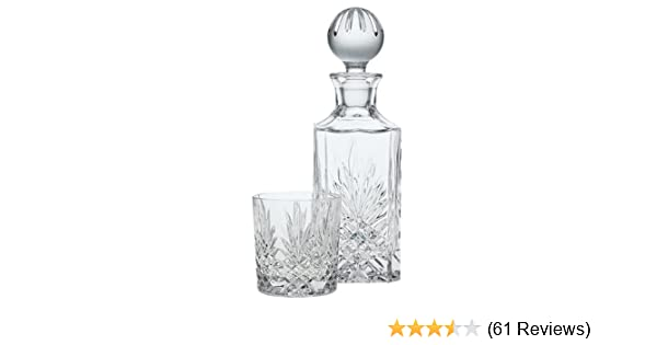 Wine Vodka Hand Blown Diamond Whiskey Decanter: Lead Free Glass Designer Decanters with Custom Wood Stand /& Airtight Stopper Decorative Bar Set Tool for Scotch Bourbon Rum Liquors or Spirits Axiam Inc.
