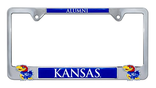 Premium All Metal NCAA KU Kansas Alumni License Plate Frame w/Dual 3D Logos (Kansas)