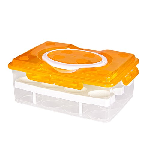 Zantec Caja de almacenamiento de conservación fresca del huevo de la Anti-colisión de la cuadrícula portátil 24 de la...