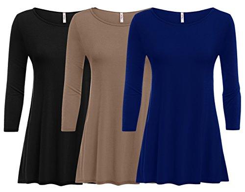 3 Pack: Womens Plus Size Tunic Tops for Leggings, Womens Tunic T Shirt - USA