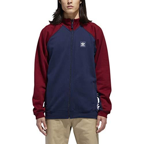 Stripe Rugby Shirt Collegiate - adidas Skateboarding Men's Full Zip Rugby Collegiate Navy/Collegiate Burgundy/White Large