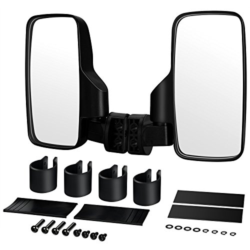 Mount Door Mirror Deluxe (BETOOLL Upgraded Adjustable Pair UTV Side Mirror Set 1.75 or 2inch Roll Bar Cage, Universal UTV Side View Mirrors High Impact(Pack of 2))
