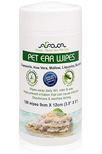 Arava Pet Ear Wipes - for Dogs Cats Puppies & Kittens - 100 Count - Natural Medicated Cleansing Deodorizer - Removes Dirt Wax Yeast & Mites Irritations - Prevents Odors Itching - Soft Gentle Dog Wipes