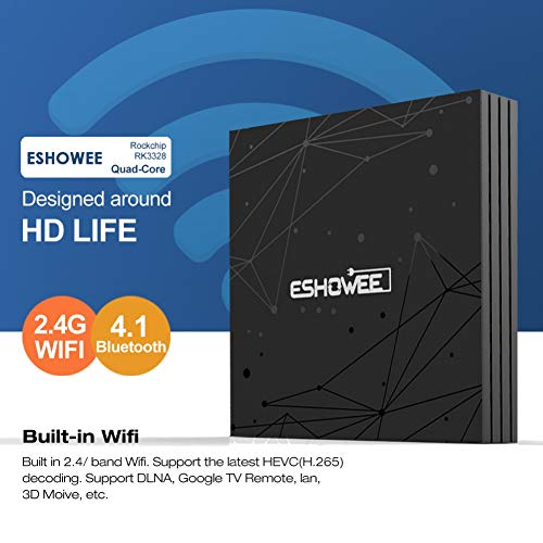 ESHOWEE T9 Android 8 1 TV Box RK3328 Quad-core 64 Bit DDR3 4GB 32GB 4K UHD  WiFi and Lan VP9 DLNA