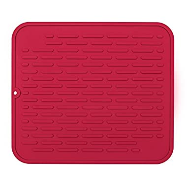 Red Extra-Large Silicone Dish-Drying Mat & High-Heat Resistant Trivet | Antimicrobial, Antibacterial | 17.8 x 15.8 inch