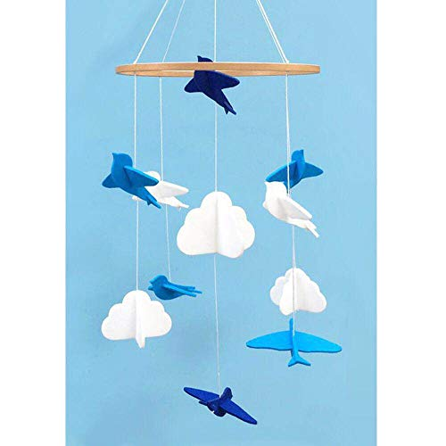 Baby Crib Mobile Birds and Clouds Felt Nursery Ceiling Decoration for Girls and Boys,Blue & White
