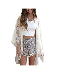 Donalworld Women Summer Loose Lace Casual Long Sleeve Dress White Asia Size XL
