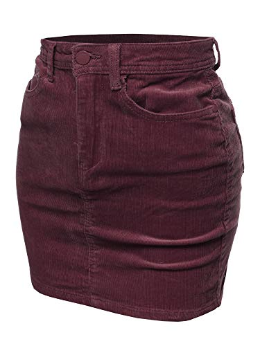 Awesome21 Solid Corduroy High-Rise Pencil Mini Skirt Wine Size L