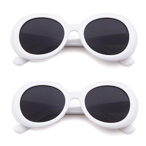 Goggles de Ovale Mode Clout Pcs Femmes ADEWU White Hommes soleil Lunettes Vintage 2 Oversize RUx0UZ