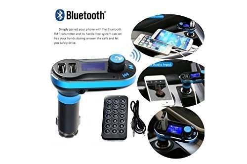 FM Transmitter, In-Car Universal Wireless FM Transmitter Radio Adapter Car Kit MP3 Player with 3.5mm Audio Plug and USB Car Charger [Supports MP3 WMA Music on SD Card & USB Flash Drive] ,Blue