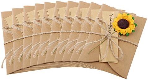 可愛い クラフト紙 DIY グリーティングカード 10枚セット 8種 - ひまわり, 3.5×2.1インチ