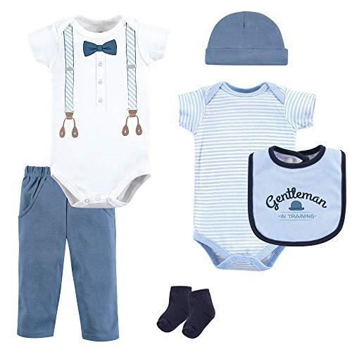Little Treasure Unisex Baby Clothing, Lt. Blue Suspenders 6-Piece Set, 3-6 Months (6M)