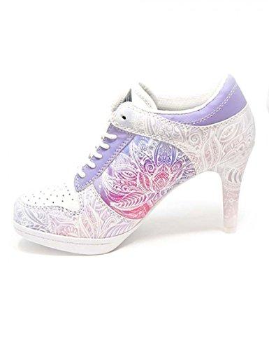 MISSY ROCKZ Wonderful Lotus Sneaker High Heels white/ purple