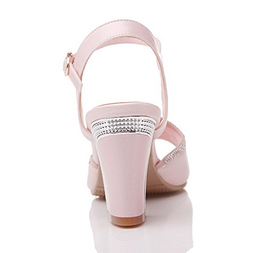 Amoonyfashion Kvinna Mjukt Läder Peep Toe Kick-häl Spänne Fasta Sandaler Rosa