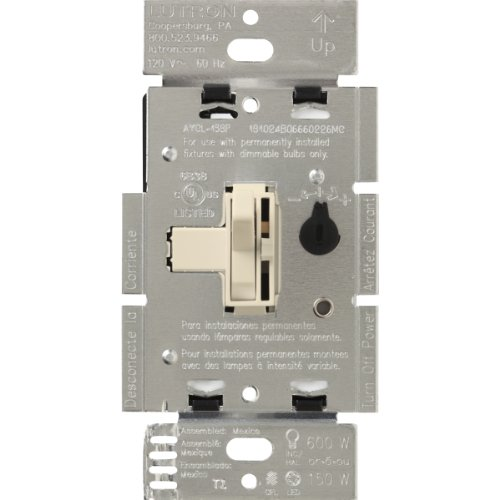 Lutron Toggler C.L Dimmer Switch for dimmable LED, Halogen and Incandescent Bulbs, Single-Pole or 3-Way, AYCL-153P-LA, Light ()