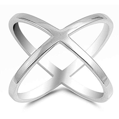 Plain Criss Cross Design.925 Sterling Silver Ring Sizes 5-10