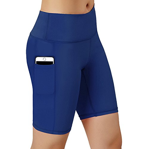 HuaTu Women Performance Compression Shorts with Side Pocket (Blue, X-Large Waist 27.56-43.31inc) - Natural Waist Pocket