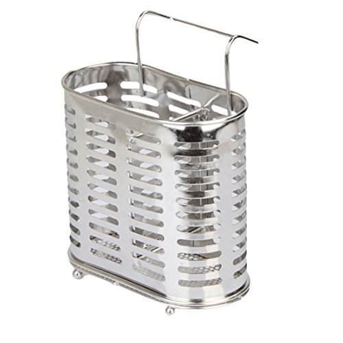 Utensil Caddy, GTKRTU Stainless Steel Utensil Drying Rack Basket Holder Cutlery Drainer Utensil Container Kitchen Chopsticks Holder - Silver (Stainless Steel Cutlery Basket)