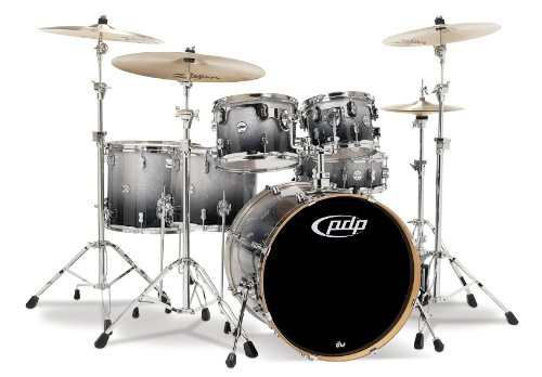 Pacific Drums PDCM2216SB 6-Piece Drumset with Chrome Hardware - Silver to Black Fade ()