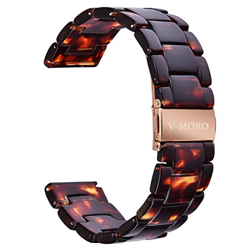 - V-MORO Compatible Fitbit Versa/Fitbit Blaze Band Women Men - Fashion Resin Versa Wristbands Bracelet Metal Stainless Steel Replacement for Fitbit Versa/Fitbit Blaze Smart Watch (Tortoise-Tone)