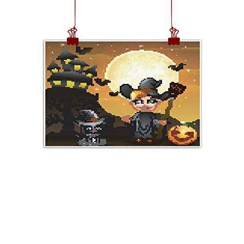 duommhome Modern Oil Paintings Halloween Background with boy Witch Pumpkin Kitten Witch Modern Oil Paintings 35