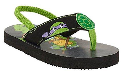 Tennage Mutant Ninja Turtles Toddler Boys' Beach Flip Flop (7-8, Green/Black) ()
