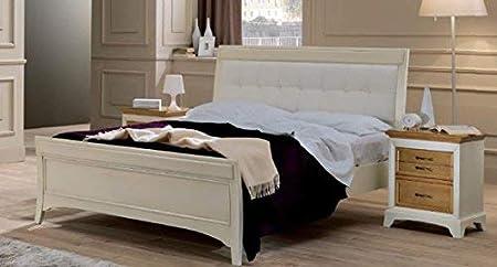 Letto Matrimoniale In Pelle Bianco.Letto Matrimoniale Con Testiera Colore Avorio Effetto Vintage