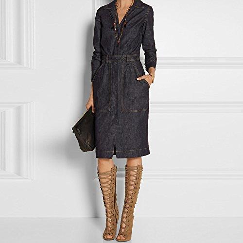 Onlymaker Damen Coppy Leather Lace-up Texturen Kniehohe perforiertem Leder-Absatz-Sandelholz Schwarz