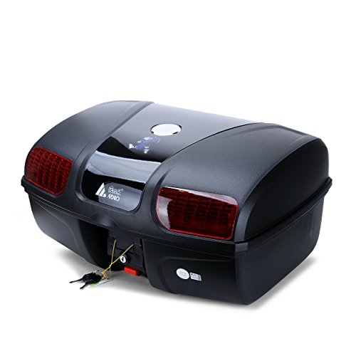 AUTOINBOX Universal Motorcycle Rear Top Box Tail Trunk Luggage Storage Case,47 Litre Hard Case with Mounting Hardare,with LED Light,Black by AUTOINBOX