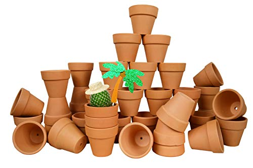 My Urban Crafts 40 Pcs - 2.1 Inch Mini Clay Pots Small Terracotta Pots Ceramic Pottery Planter Terra Cotta Flower Pot Succulent Nursery Pots Great for Windowsill, Cactus Plant, Crafts, Wedding Favors