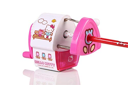 Hello kitty Pencil Sharpener Manual School Stationery Cartoon Safe Office Supply (Pink)