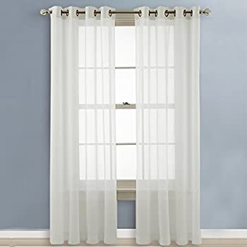 This Item NICETOWN Sheer Curtains 96 Long   Grommet Top Voile Panels For  Hall / Parlor / Guest Suite (2 Pieces, 54 Wide X 96 Inch Length, Ivory)
