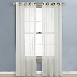 nicetown sheer curtains 96 long grommet top voile panels for hall parlor guest. Black Bedroom Furniture Sets. Home Design Ideas