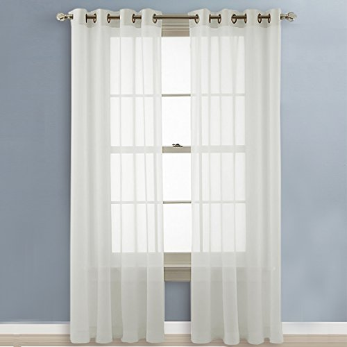 Nicetown Sheer Curtains 96 Long Grommet Top Voile Panels For Hall Parlor Guest Ebay
