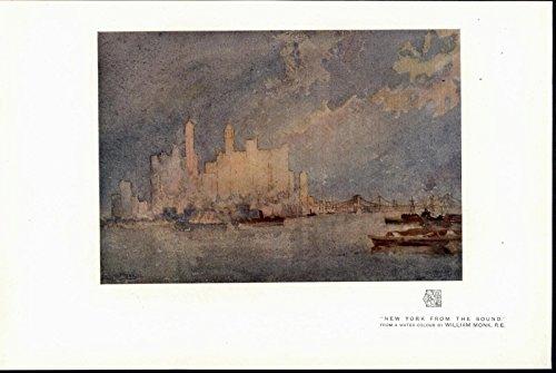 - New York from the Sound Skyline Skyscrapers Bridge 1915 vintage color art print