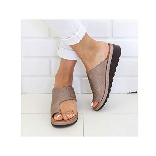 3efeb0efc8 Women Pu Leather Shoes Comfy Platform Flat Sole Casual Soft Big Toe Foot  Correction Sandal,Bronze,5