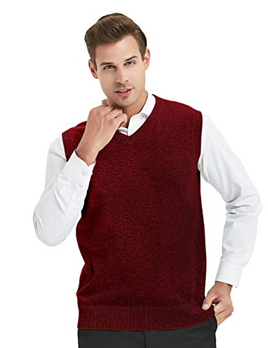 TOPTIE Mens Business Solid Color Plain Sweater Vest, Cotton Fit Casual Pullover-Wine -