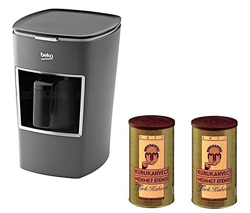 Beko Turkish Coffee Maker BKK 2113M (Usa 120 Volt) with Two (2) Mehmet Efendi Turkish Coffee 8.8OZ Bundle
