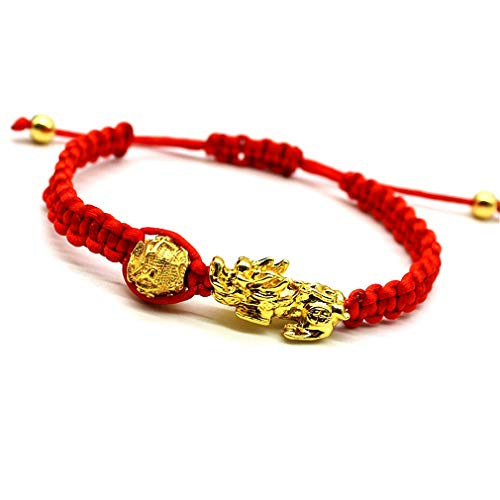 Feng Shui The Best Red String Bracelet with Pi Xiu/Pi Yao and Carved Mantra Golden Good Luck Bead Bracelet Jewelry