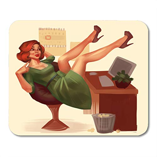 Semtomn Gaming Mouse Pad Redhead Relaxing Woman Legs Up in Green Dress 9.5
