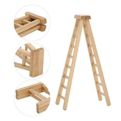 HEEPDD 1:12 Miniature Doll Furniture, Doll House Miniature Wooden Ladder Model Dollhouse Mini Micro Type Decoration Accessory for Dollhouse: Home & Kitchen