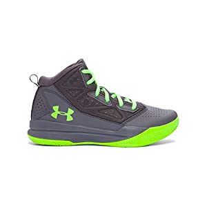 Under Armour Kids' Boys' Grade School Jet Mid Basketball Shoe, Black (002)/White, 10.5