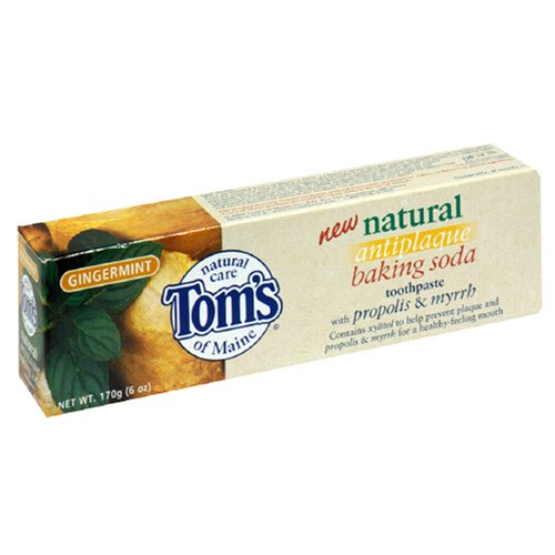 Gingermint Toothpaste - Tom's of Maine Natural Antiplaque Baking Soda Toothpaste, Gingermint, 6-Ounce Tubes (Pack of 6)