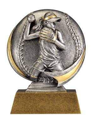 Express Medals 6 inch Motion Xtreme Softball Trophy Award with Engraved Personalized Plate 5-Pack ()