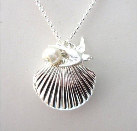 925 Sterling Silver Shell Locket Pendant Wave Necklace Chain Jewelry