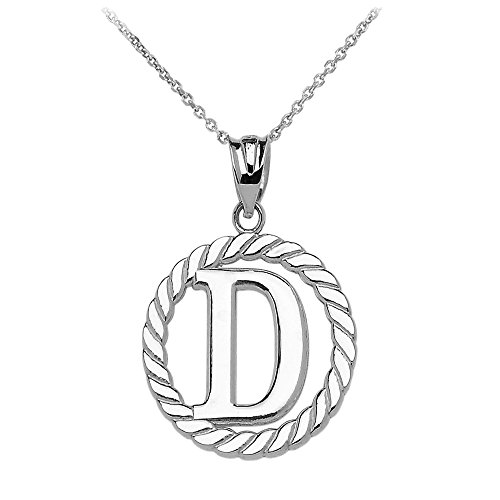 """Collier Femme Pendentif 14 Ct Or Blanc """"D"""" Initiale À Corde Cercle (Livré avec une 45cm Chaîne)"""