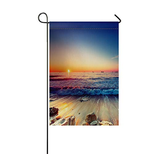 LIDU Garden Flags House Banner Decorative Flags Home Outdoor Valentine, Tropical Sunset Blue Sky Sailboat Sea Waves Landscape Welcome Holiday Yard Flags, Double Sides 28 x 40inch