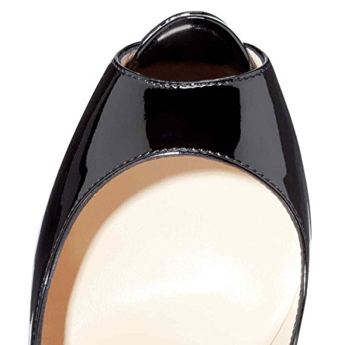 Arc-en-Ciel zapatos de plataforma de la mujer peep toe de tacón alto Negro Rojo Leopard