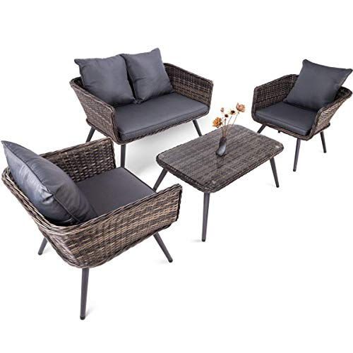 2' Box Seat - Pamapic 4 Piece Outdoor Patio Wicker Furniture Sets with Cushions 【Unique Design with Round Rattan】 PE Rattan Outdoor Sectional Sofa & Table with Adjustable Legs 【Grey】
